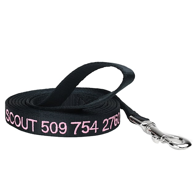 GoTags Personalized Black Dog Leash, Embroidered with Dog Name or Custom Text, Small - Carousel image #1