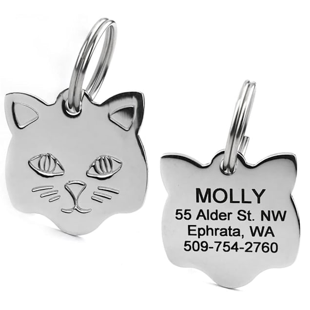 GoTags Personalized Cat Shaped Stainless Steel Pet ID Tag with Engravement on Both Sides - Carousel image #1