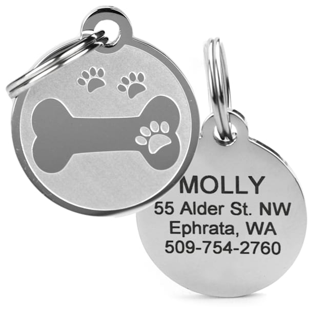 GoTags Personalized Bone with Paw Print Pet ID Tag for Dogs and Cats with Custom Engraving - Carousel image #1