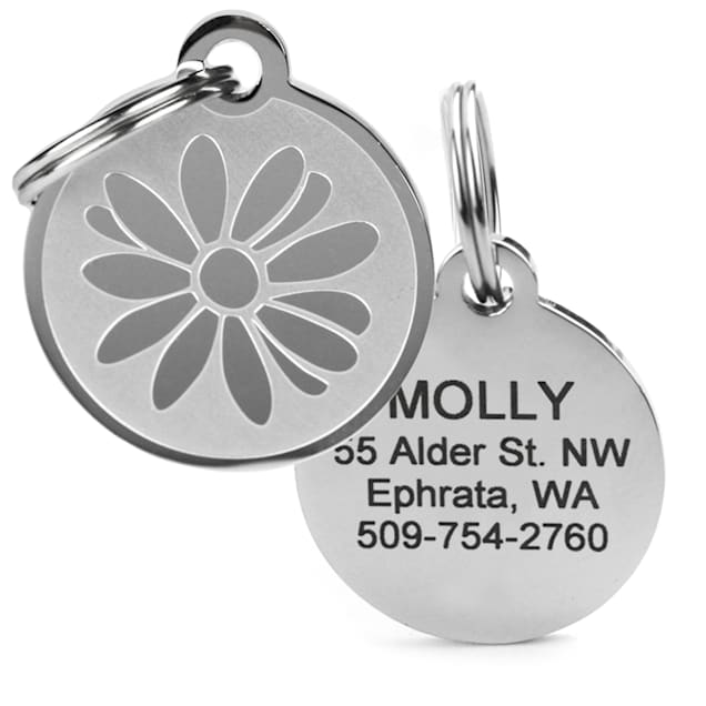 GoTags Personalized Daisy Flower Pet ID Tag for Dogs and Cats with Custom Engraving - Carousel image #1