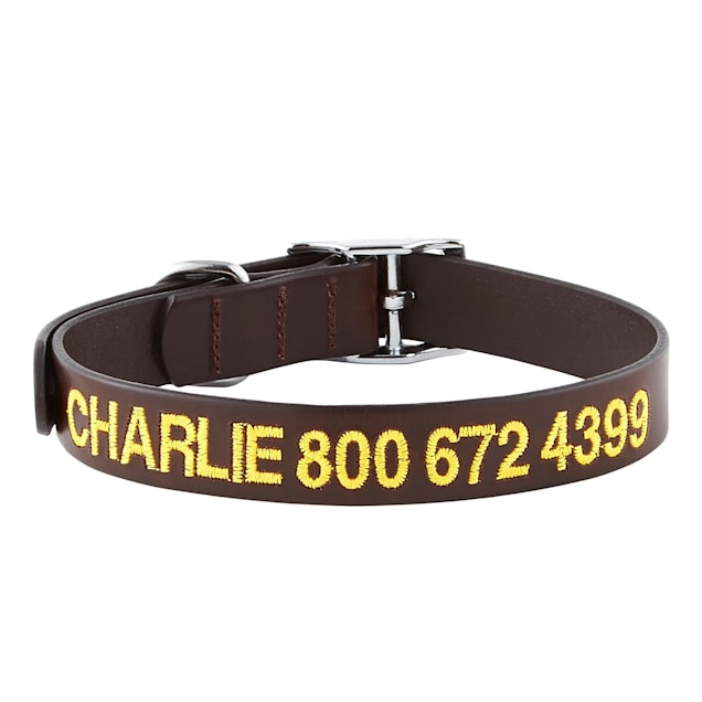 GoTags Personalized Leather Dark Brown Dog Collar with Custom Embroidery, Small/Medium - Carousel image #1