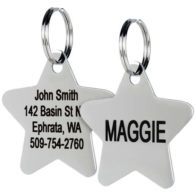 GoTags Personalized Stainless Steel Star Pet ID Tag for Dogs and Cats with Engravement on Both Sides, Small - Carousel image #1