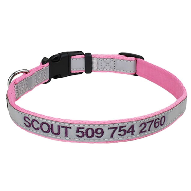 GoTags Reflective Personalized Pink Dog Collar with Custom Embroidery, Small - Carousel image #1