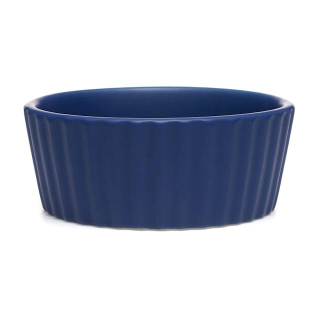 Waggo Royal Blue Ripple Ceramic Matte Dog Bowl, 4 Cup - Carousel image #1