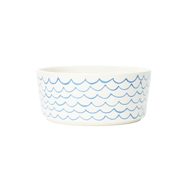 Waggo Blue Sketched Wave Ceramic Dog Bowl, 2 Cup - Carousel image #1