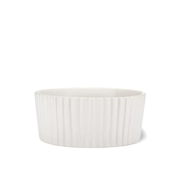 Waggo White Ripple Ceramic Matte Dog Bowl, 2 Cup - Carousel image #1