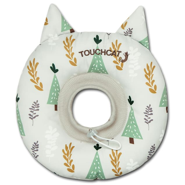 Touchcat White 'Ringlet' Licking and Scratching Adjustable Pillow Cat Neck Protector, Small - Carousel image #1