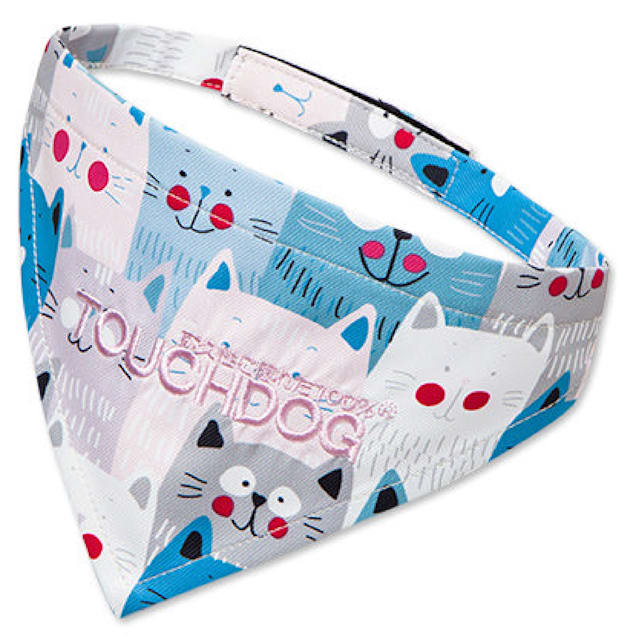 Touchdog Blue/White 'Head-Popper' Fashion Designer Printed Velcro Dog Bandana, Small - Carousel image #1