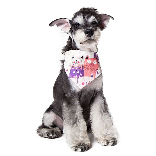 Touchdog Pink/Purple 'Head-Popper' Fashion Designer Printed Velcro Dog Bandana, Small - Carousel image #1