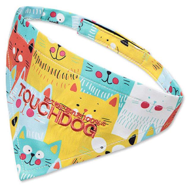 Touchdog Yellow/Blue 'Head-Popper' Fashion Designer Printed Velcro Dog Bandana, Small - Carousel image #1