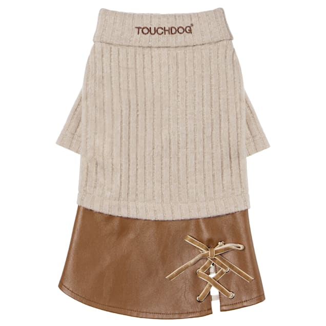 Touchdog Brown 'Modress' Fashion Designer Dog Sweater and Dress, Small - Carousel image #1