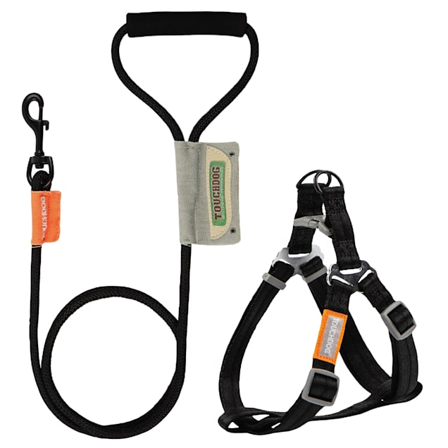 Touchdog Black 'Macaron' 2-in-1 Durable Nylon Dog Harness and Leash, Small - Carousel image #1