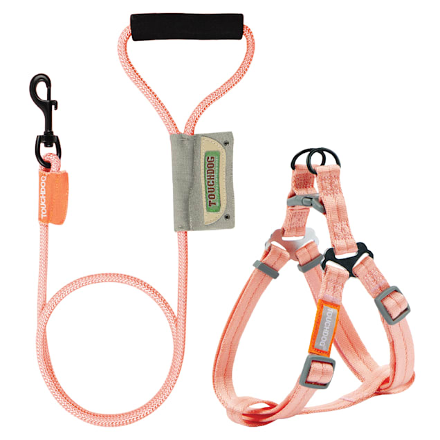 Touchdog Pink 'Macaron' 2-in-1 Durable Nylon Dog Harness and Leash, Medium - Carousel image #1