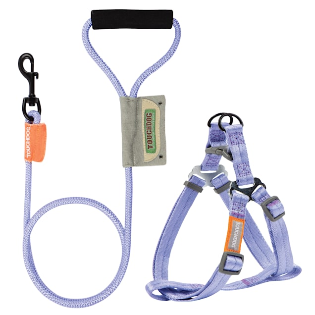Touchdog Purple 'Macaron' 2-in-1 Durable Nylon Dog Harness and Leash, Large - Carousel image #1