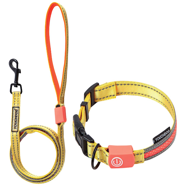 Touchdog Yellow 'Lumiglow' 2-in-1 USB Charging LED Lighting Water-Resistant Dog Leash and Collar, Small - Carousel image #1
