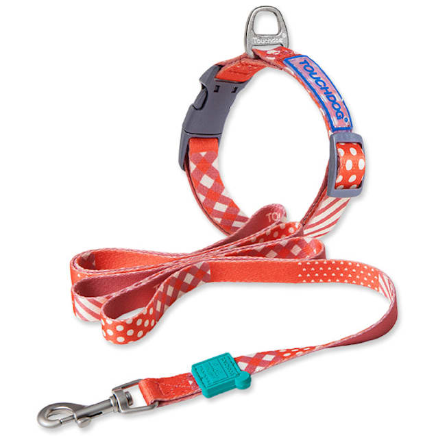 Touchdog Red 'Trendzy' 2-in-1 Matching Fashion Designer Printed Dog Leash and Collar, Small - Carousel image #1