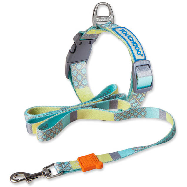 Touchdog Blue 'Trendzy' 2-in-1 Matching Fashion Designer Printed Dog Leash and Collar, Small - Carousel image #1