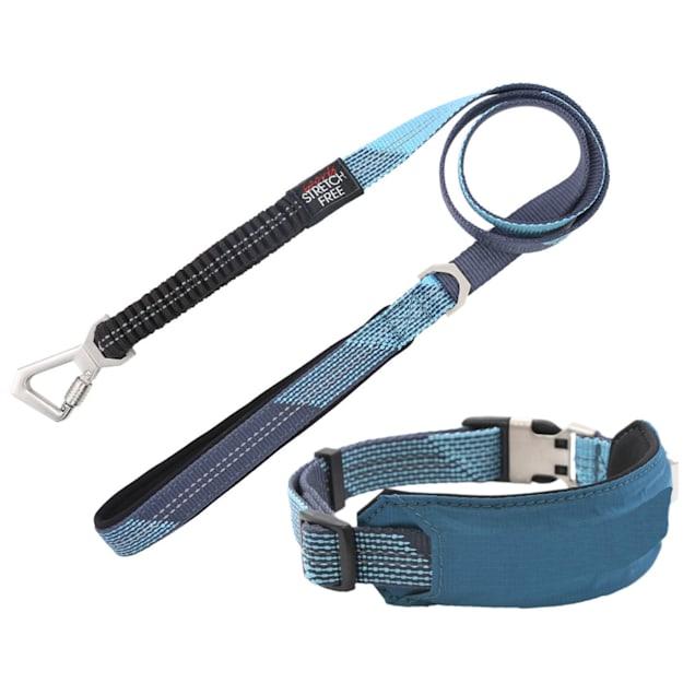 Pet Life Blue 'Geo-prene' 2-in-1 Shock Absorbing Neoprene Padded Reflective Dog Leash and Collar, Small - Carousel image #1