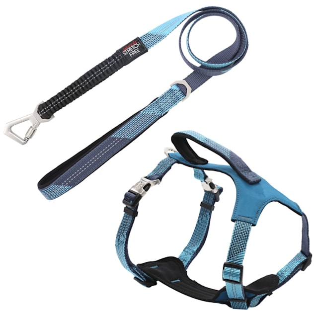 Pet Life Blue 'Geo-prene' 2-in-1 Shock Absorbing Neoprene Padded Reflective Dog Leash and Harness, Small - Carousel image #1
