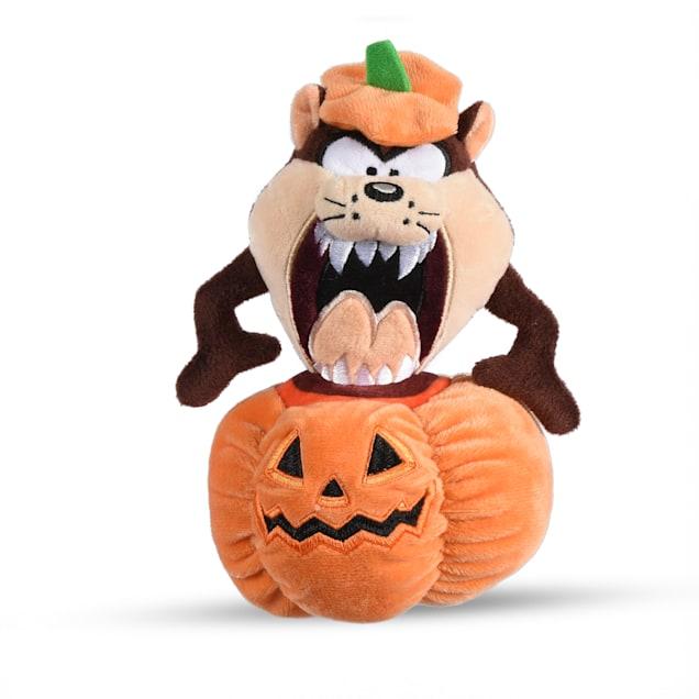 "Fetch for Pets Tasmanian Devil ""Taz"" Halloween Pumpkin Head Plush Dog Toy, Small - Carousel image #1"