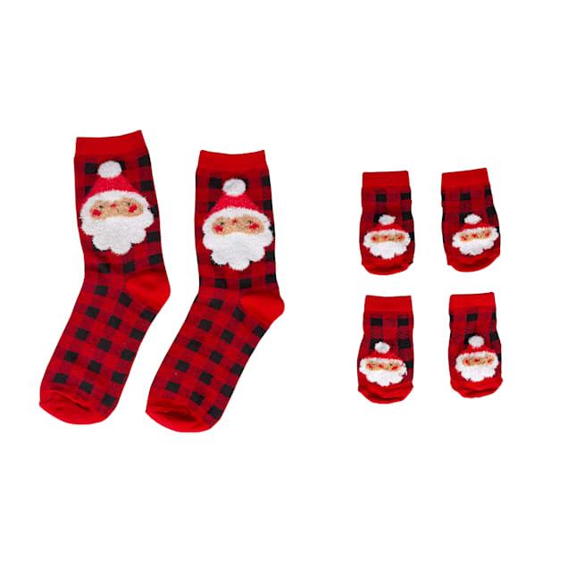 Pearhead Pet Plaid Santa Human and Dog Socks Gift Set - Carousel image #1