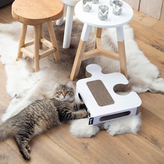 "District 70 White Puzzle Cardboard Cat Scratcher, 11.8"" L X 16.5"" W X 2.3"" H - Carousel image #1"