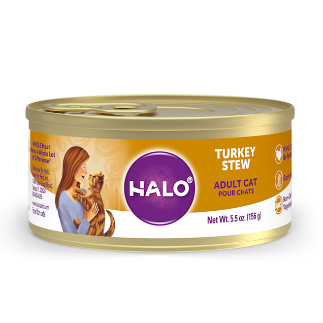 Halo Adult Grain Free Turkey Recipe Canned Cat Food, 5.5 oz., Case of 12 - Carousel image #1