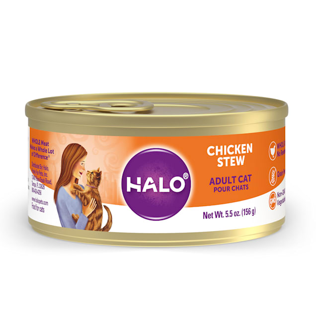 Halo Adult Grain Free Chicken Recipe Canned Cat Food, 5.5 oz., Case of 12 - Carousel image #1