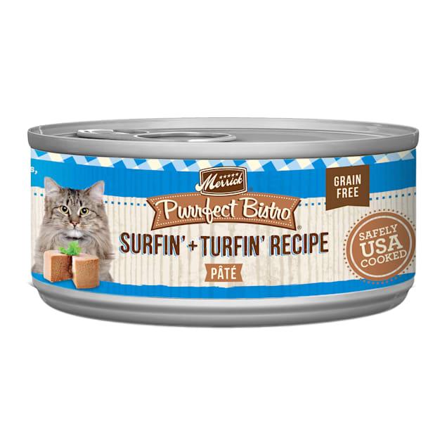 Merrick Purrfect Bistro Grain Free Surf & Turf Pate Wet Cat Food, 5.5 oz., Case of 24 - Carousel image #1
