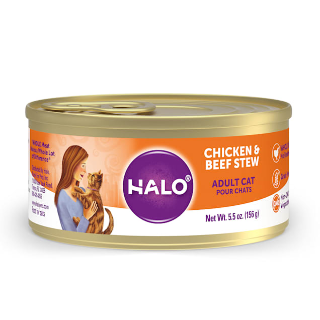 Halo Adult Grain Free Chicken & Beef Recipe Canned Cat Food, 5.5 oz., Case of 12 - Carousel image #1