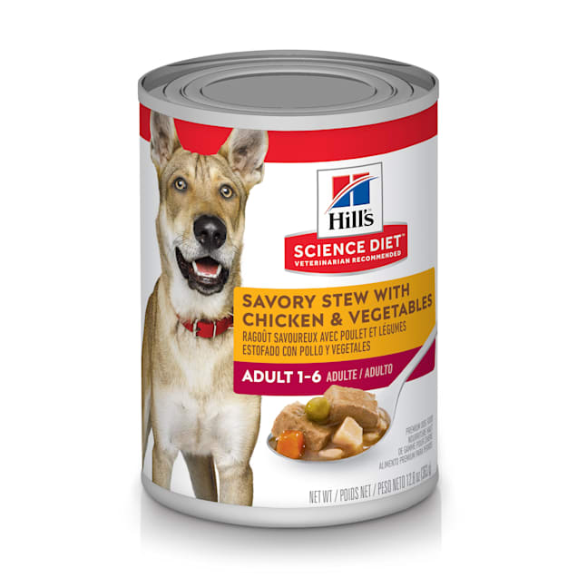 Hill's Science Diet Adult Savory Stew with Chicken & Vegetables Canned Dog Food, 12.8 oz. - Carousel image #1