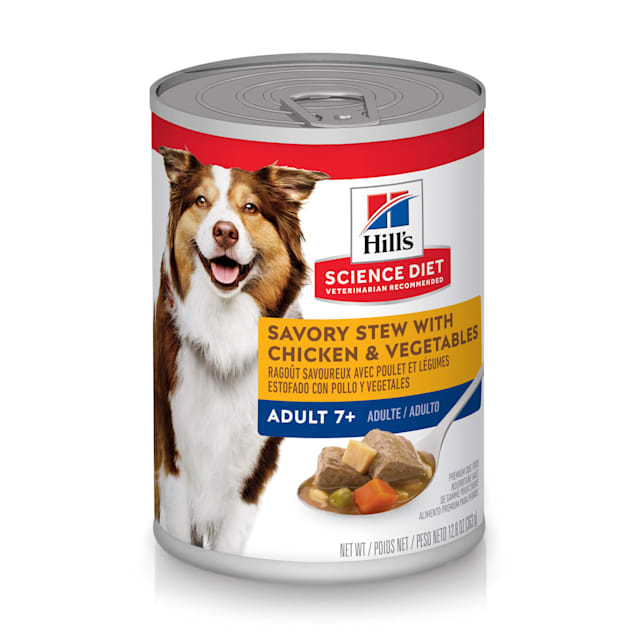 Hill's Science Diet Adult 7+ Savory Stew with Chicken & Vegetables Canned Dog Food, 12.8 oz., Case of 12 - Carousel image #1