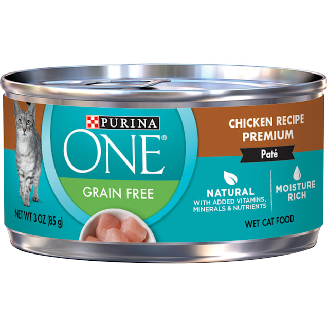 Purina ONE Smart Blend Grain Free Classic Chicken Premium Pate Wet Cat Food, 3 oz., Case of 24 - Carousel image #1