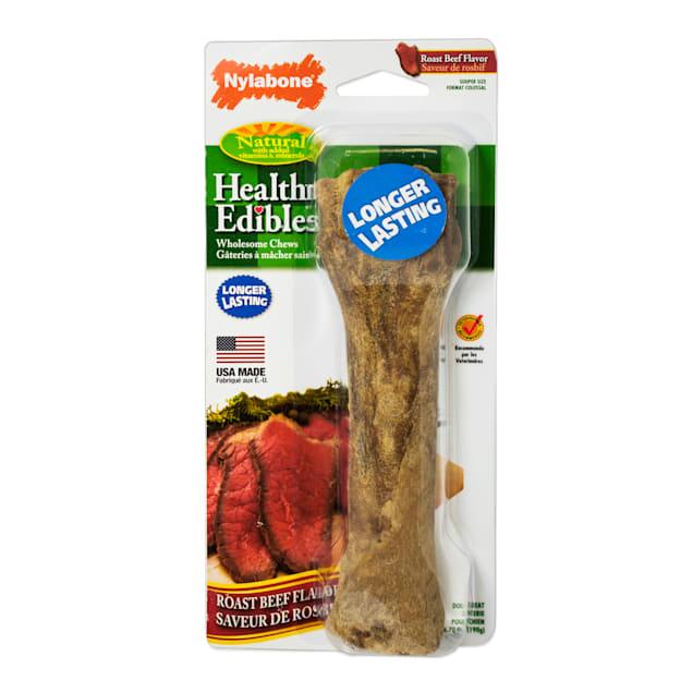 Nylabone Healthy Edibles Roast Beef Flavored Long Lasting Dog Bone Chews, Medium - Carousel image #1