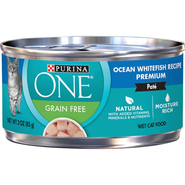 Purina ONE Smart Blend Grain Free Ocean Whitefish Premium Pate Wet Cat Food, 3 oz., Case of 24 - Carousel image #1
