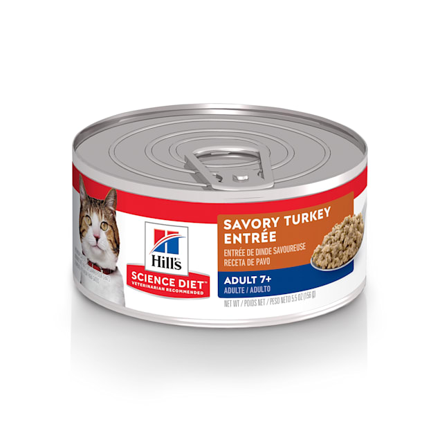 Hill's Science Diet Senior 7+ Savory Turkey Entree Canned Wet Cat Food, 5.5 oz., Case of 24 - Carousel image #1
