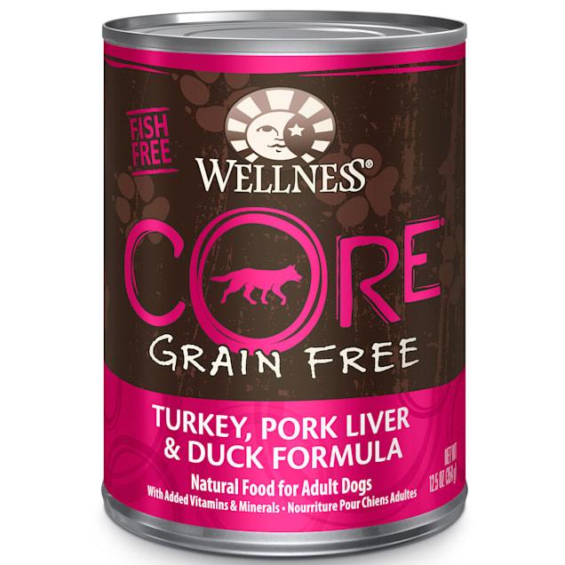 Wellness CORE Natural Grain Free Turkey, Pork Liver & Duck Recipe Wet Dog Food, 12.5 oz., Case of 12 - Carousel image #1