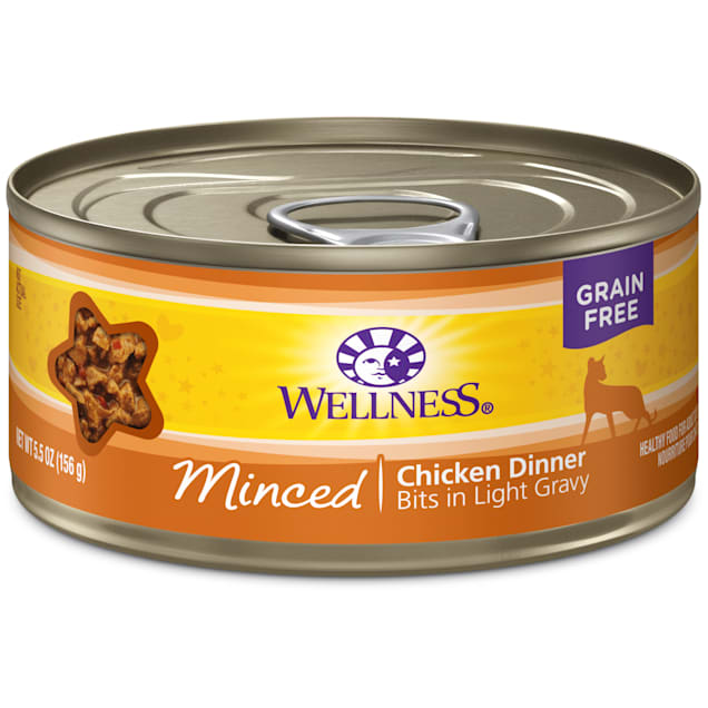 Wellness Natural Grain Free Minced Chicken Dinner Wet Cat Food, 5.5 oz., Case of 24 - Carousel image #1