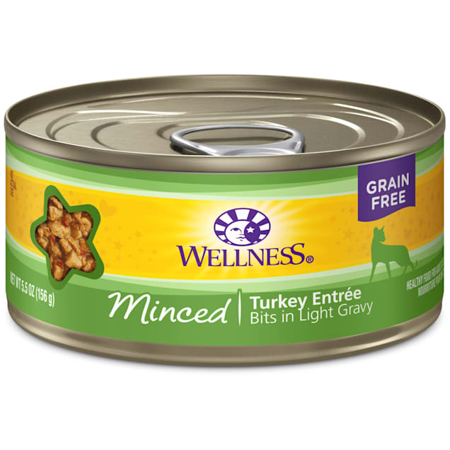 Wellness Natural Canned Grain Free Minced Turkey Entree Wet Cat Food, 5.5 oz., Case of 24 - Carousel image #1