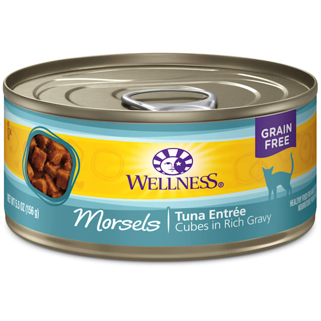Wellness Natural Canned Grain Free Wet Cat Food, Morsels Tuna Entree, 5.5 oz., Case of 24 - Carousel image #1