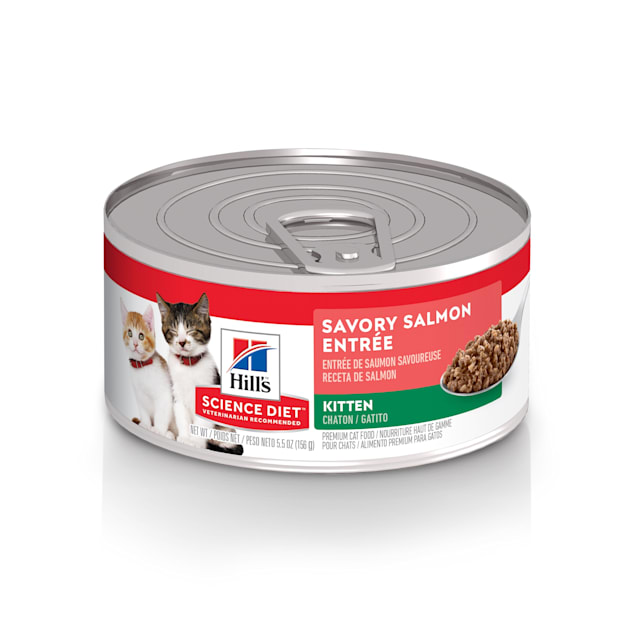 Hill's Science Diet Kitten Savory Salmon Entree Canned Food, 5.5 oz., Case of 24 - Carousel image #1