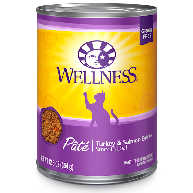 Wellness Complete Health Natural Grain Free Turkey & Salmon Pate Wet Cat Food, 12.5 oz., Case of 12 - Carousel image #1