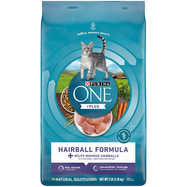 Purina ONE Natural Hairball Formula Dry Cat Food, 7 lbs. - Carousel image #1