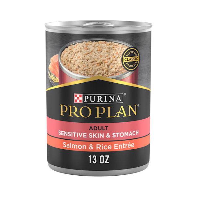 Purina Pro Plan FOCUS Sensitive Skin & Stomach Salmon & Rice Entree Wet Dog Food, 13 oz., Case of 12 - Carousel image #1