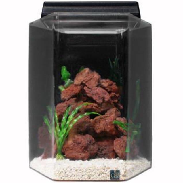 SeaClear 20 Gallon Deluxe Hexagon Aquarium Combo, Black - Carousel image #1