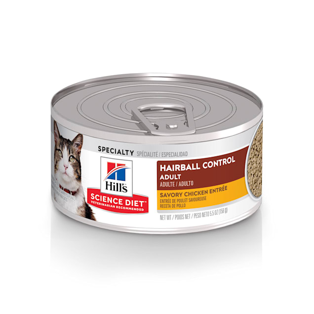 Hill's Science Diet Adult Hairball Control Savory Chicken Entree Canned Cat Food, 5.5 oz., Case of 24 - Carousel image #1