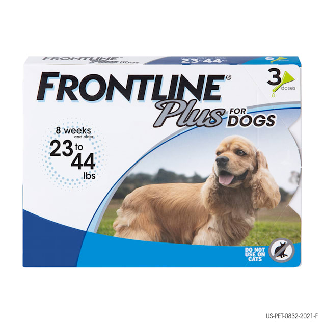 FRONTLINE Plus Flea and Tick Treatment for Medium Dogs Up to 23 to 44 lbs., 3 Treatments - Carousel image #1