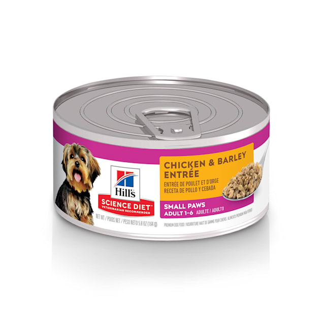 Hill's Science Diet Adult Small Paws Chicken & Barley Entree Canned Dog Food, 5.8 oz., Case of 24 - Carousel image #1