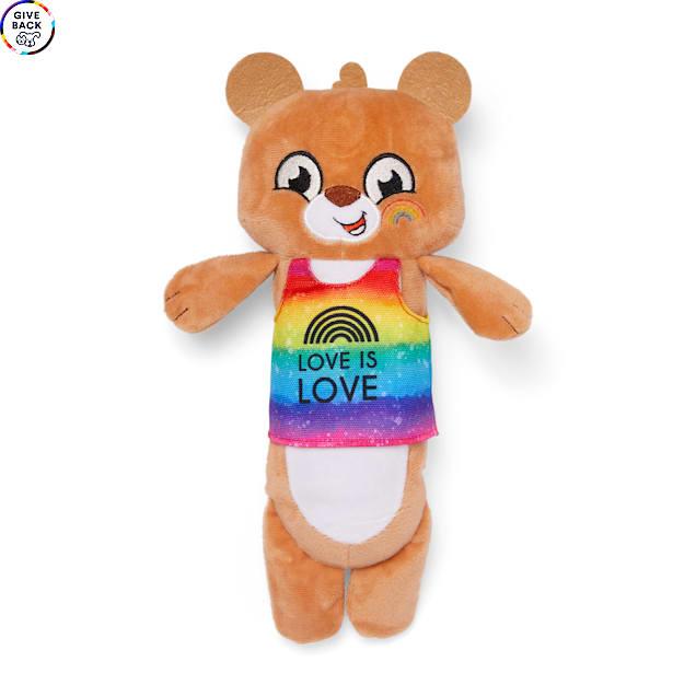YOULY The Proudest Rainbow Bear Plush Bottle Cruncher Dog Toy, Large - Carousel image #1