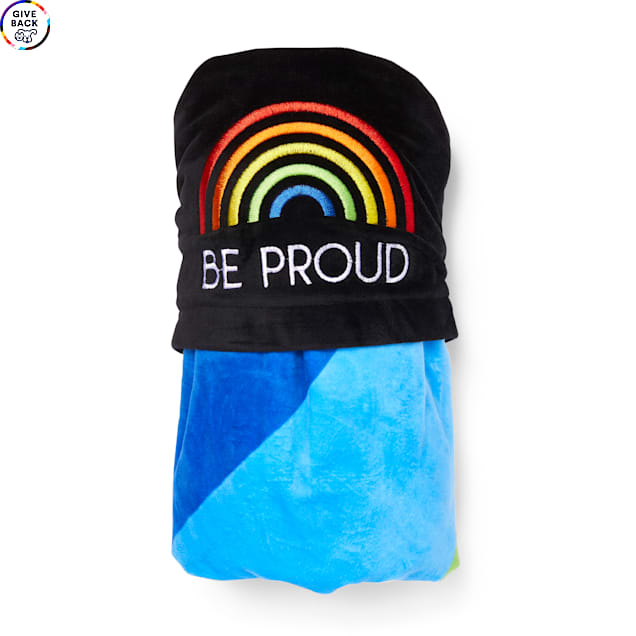 """YOULY The Proudest Multi Rainbow Hooded Pet Throw, 30"""" L X 30"""" W - Carousel image #1"""